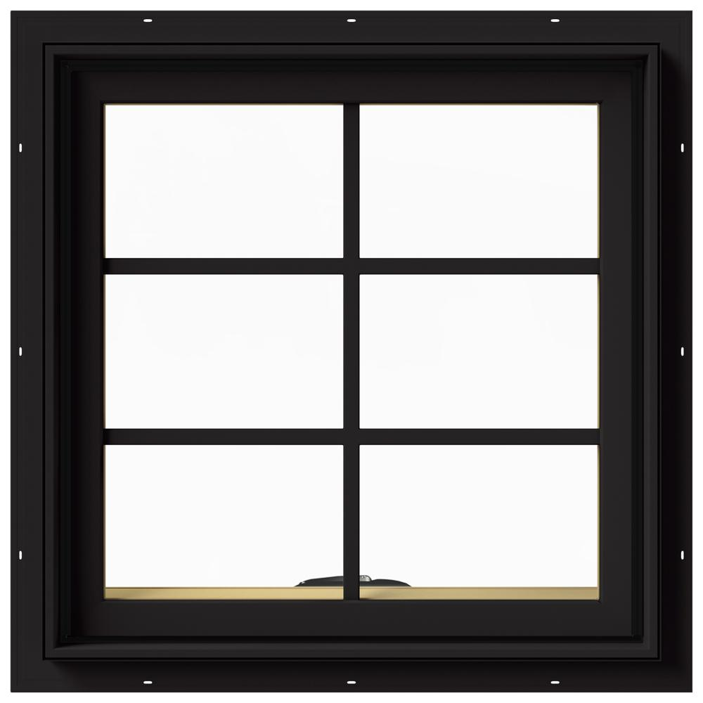 JELD-WEN 24 in. x 24 in. W-2500 Series Black Painted Clad Wood Awning Window w/ Natural Interior and Screen