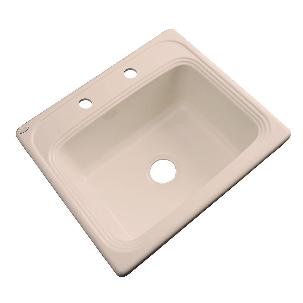 Thermocast Wellington Drop-In Acrylic 25 in. 2-Hole Single Bowl Kitchen Sink in Peach Bisque