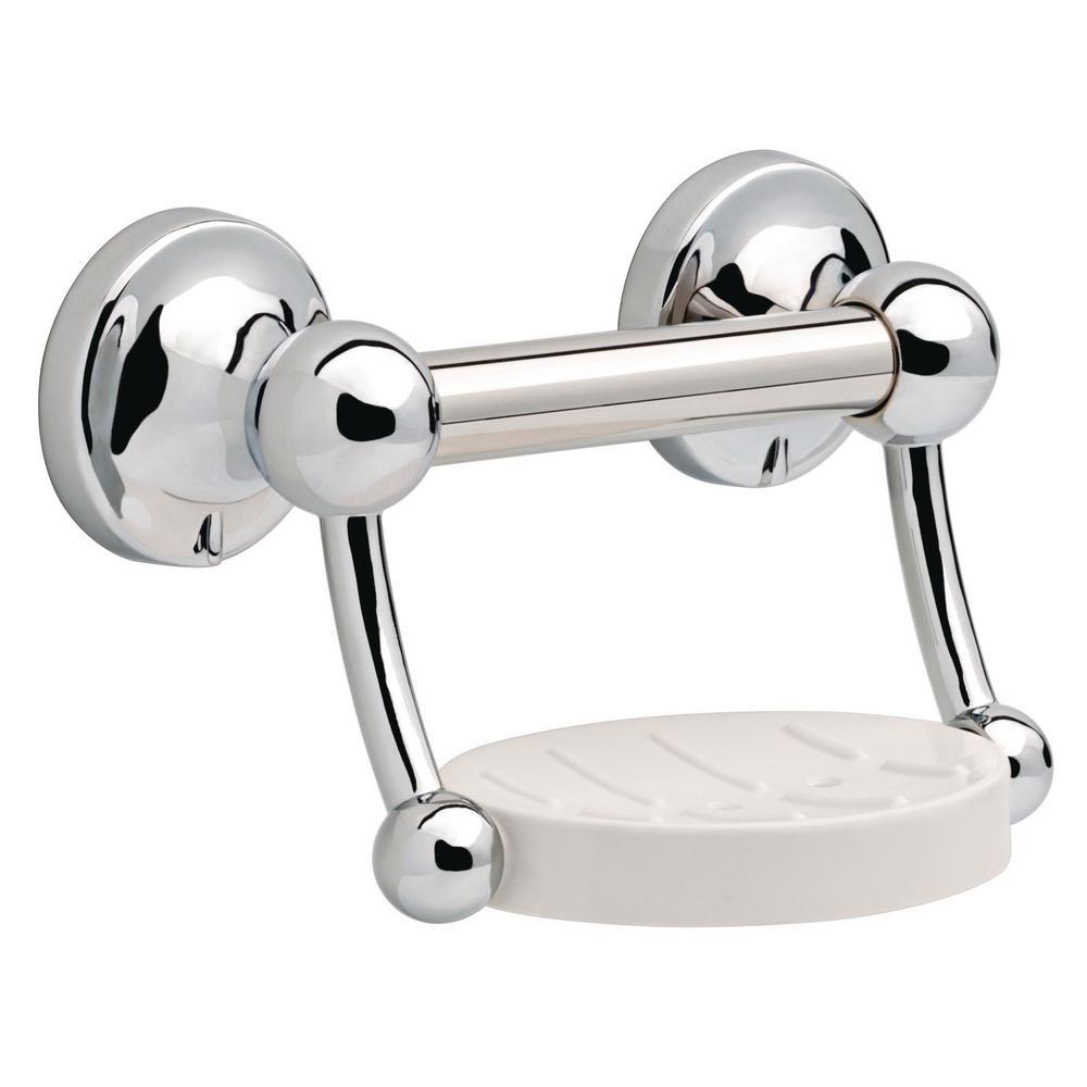 BATHROOM GRAB BAR TOWEL RAIL STRAIGHT OR ANGLED WITH SOAP DISH ACCESSORY CHROME