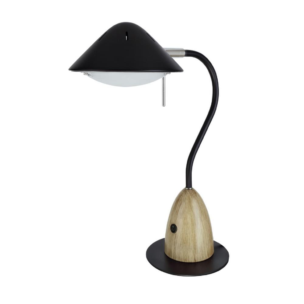 Aspen Creative Corporation 18 1 2 Black Led Desk Lamp With Wood Grain