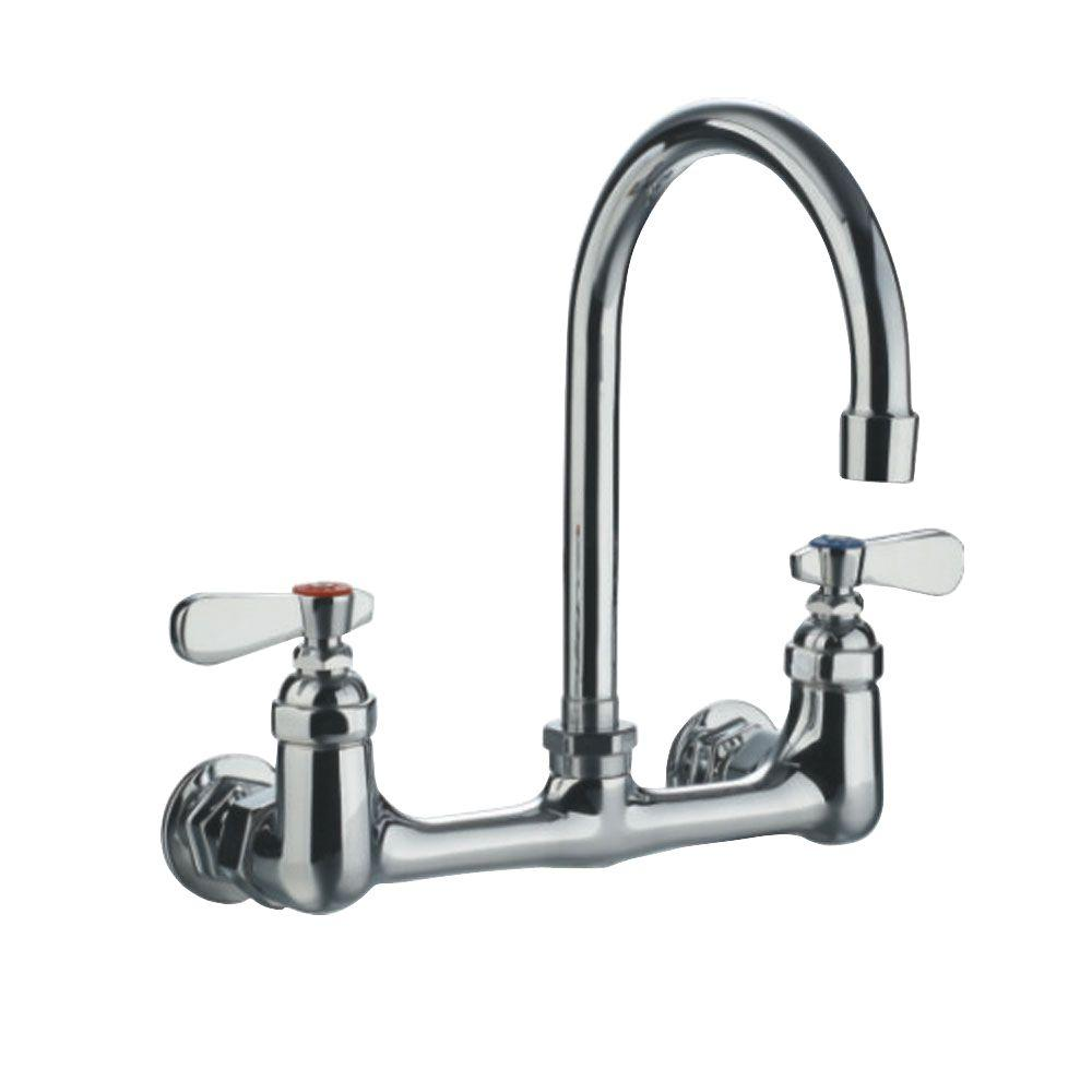 Whitehaus Collection 8 In Widespread 2 Handle Wall Mount Utility Faucet In Polished Chrome