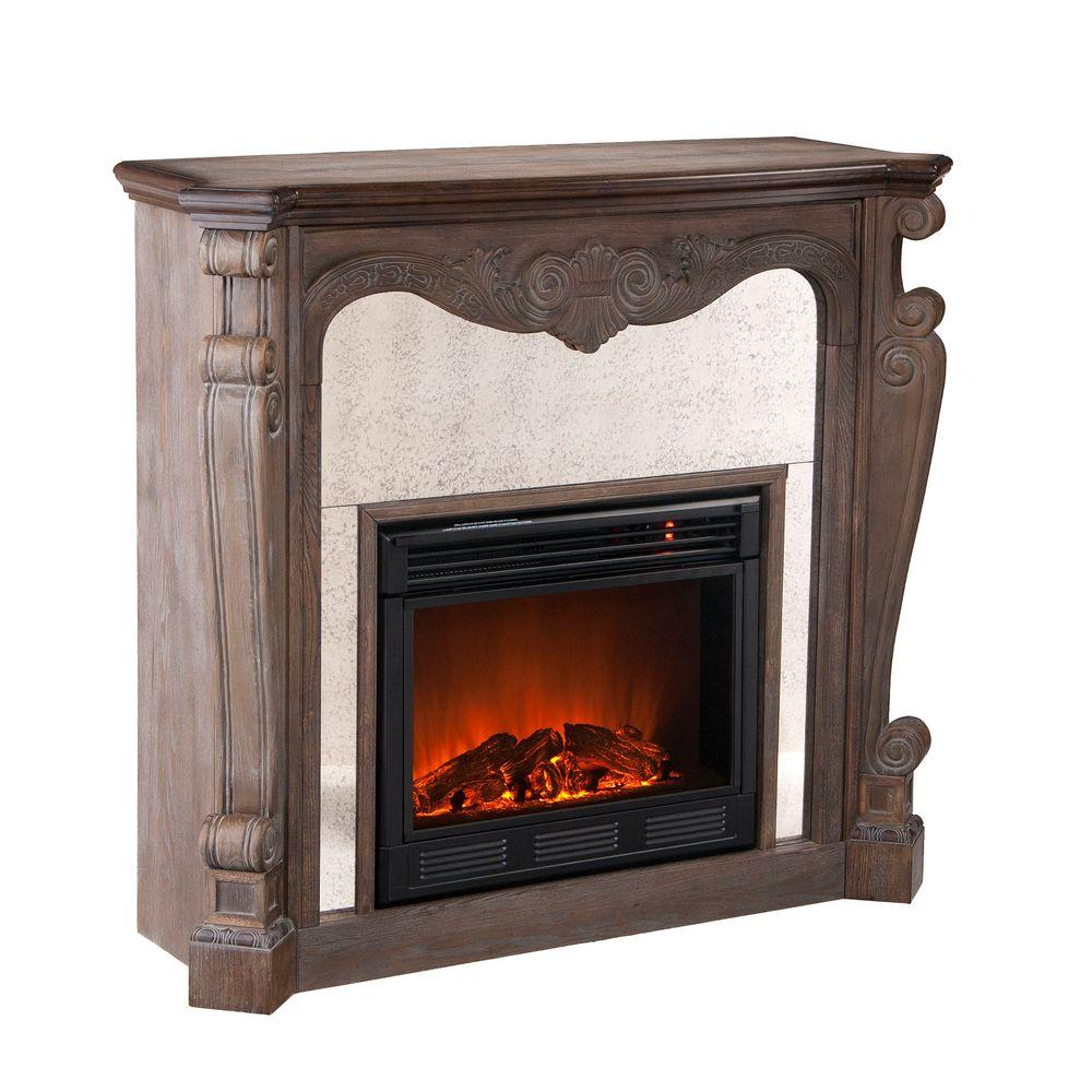 Southern Enterprises Arturo 45 in. Electric Fireplace in Distressed Oak/Faux Slate-DISCONTINUED