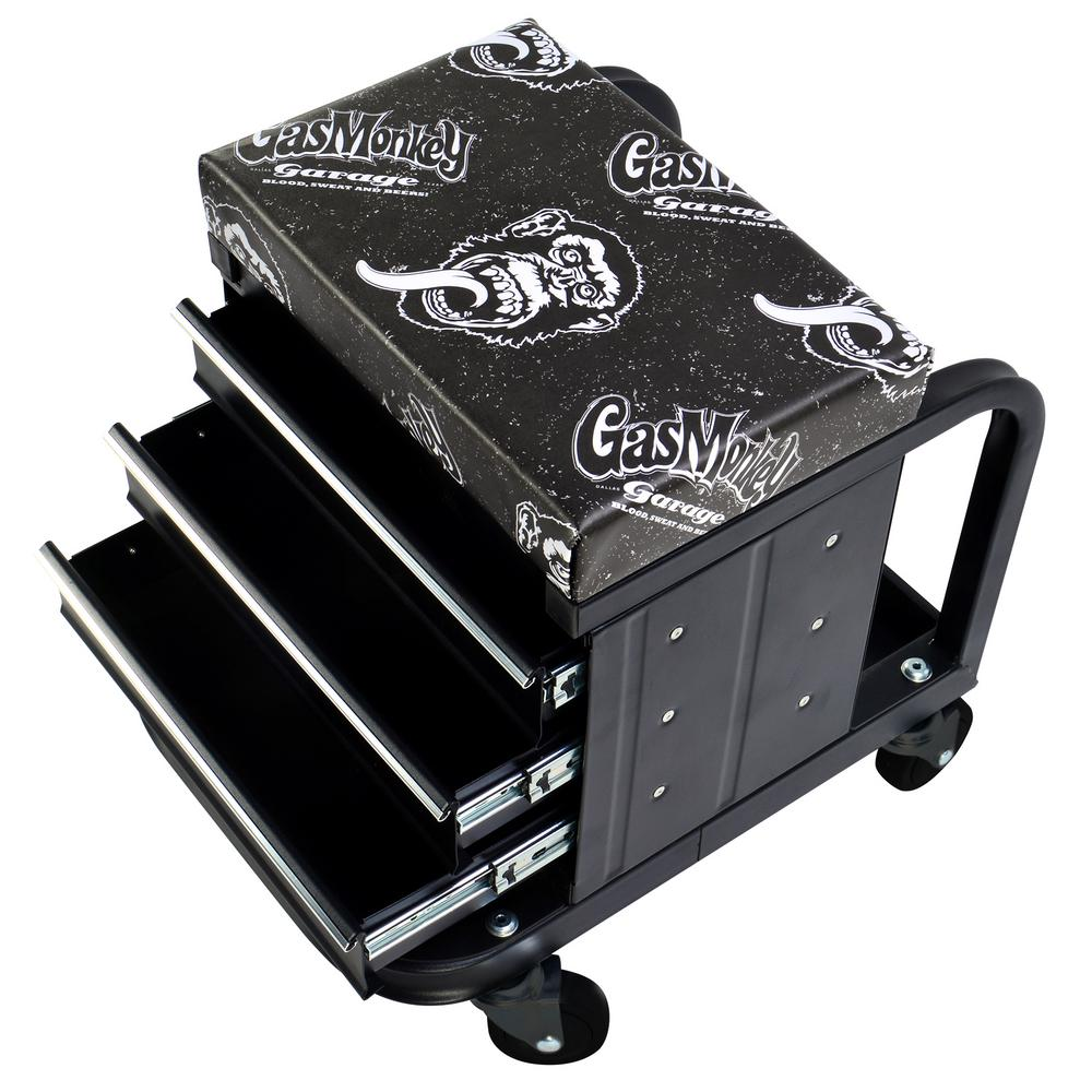 Creeper Seat and Tool Box Combo - 3-Drawers Toolbox with 4