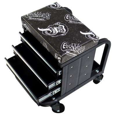 Creeper Seat and Tool Box Combo - 3-Drawers Toolbox with 4 Rolling Casters - 450 lbs. Capacity
