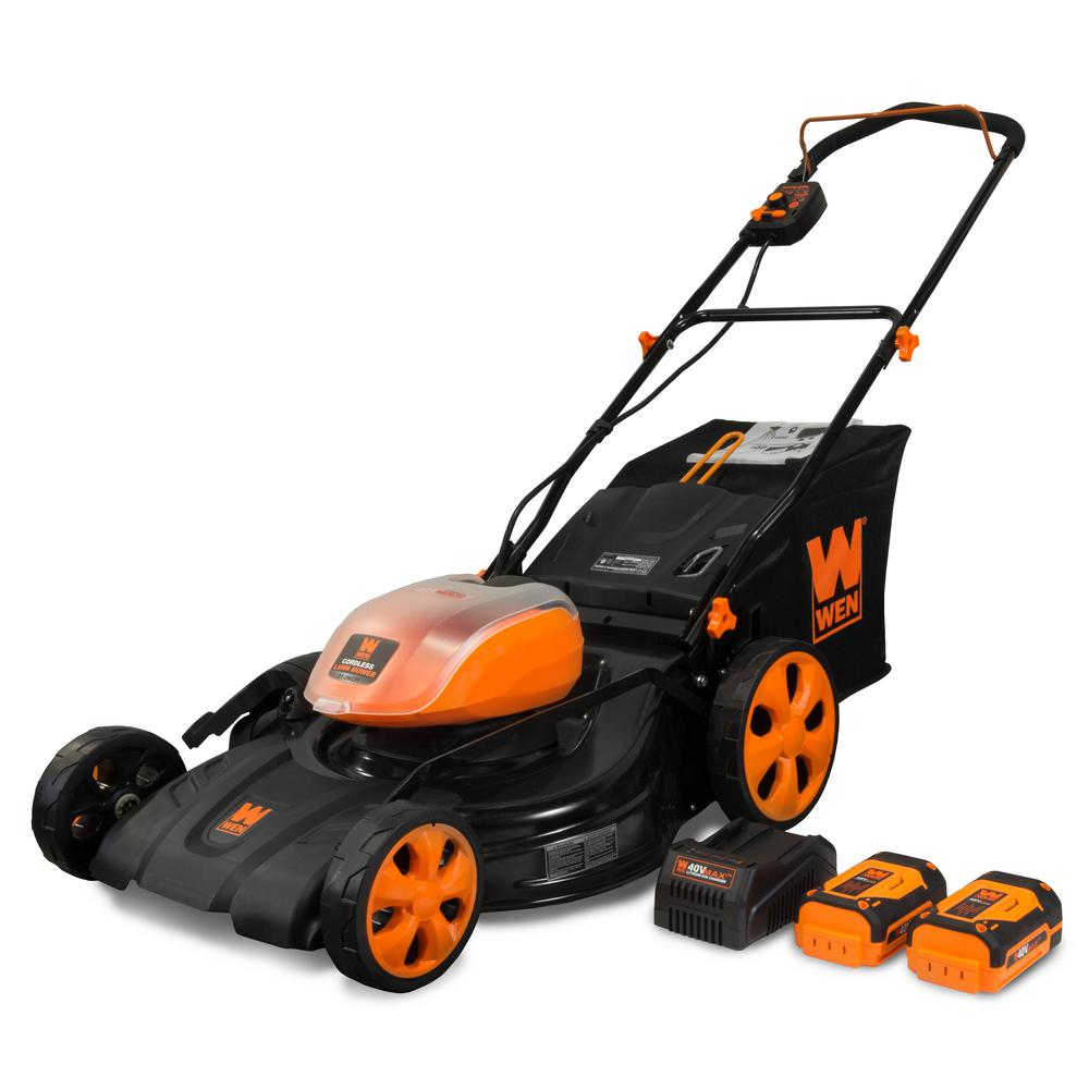 WEN 21 in. 40-Volt Max Lithium-Ion Cordless 3-in-1 Walk Behind Push Lawn Mower - 16 Gal. Bag, Two Batteries/Charger Included