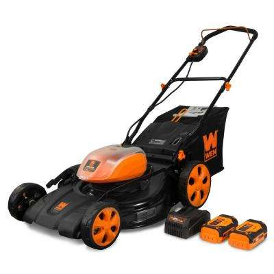 21 in. 40-Volt Max Lithium-Ion Cordless 3-in-1 Walk Behind Push Lawn Mower with 2-Batteries, 16 Gal. Bag and Charger