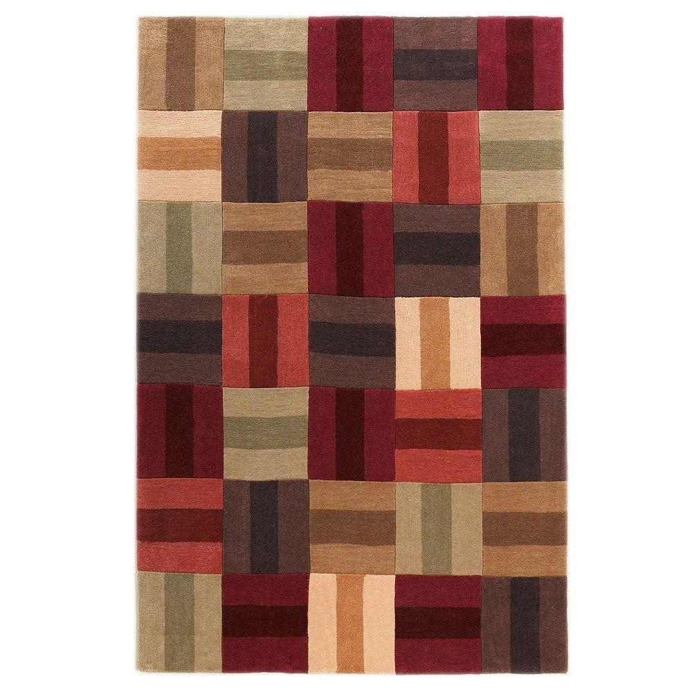 Trio Collection Burgundy and Beige 1 ft. 10 in. x 2