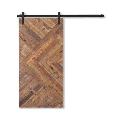 36 in. x 96 in. Craftsman Reclaimed Natural Wood Barn Door with Sliding Door Hardware Kit
