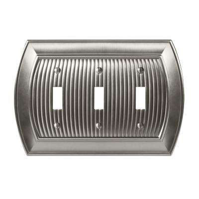 Sea Grass 3-Toggle Wall Plate, Satin Nickel