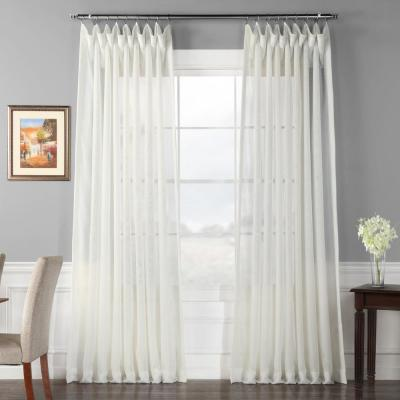 Signature Double Wide Off White Sheer Curtain - 100 in. W x 84 in. L