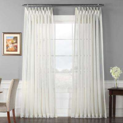 Signature Double Wide Off White Sheer Curtain - 100 in. W x 120 in. L