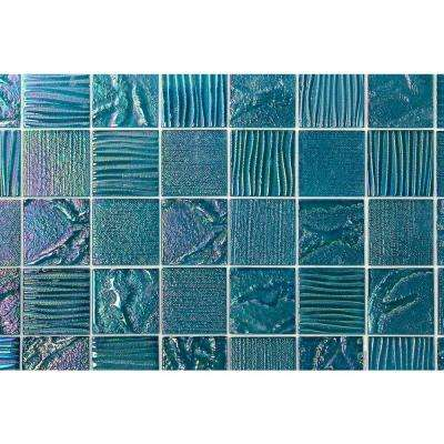Marina Iridescent Aqua Squares 12 in. x 12 in. 8 mm Polished Glass Wall Tile (1  sq. ft.)