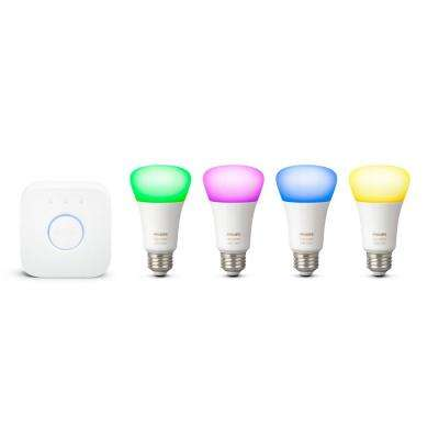 Hue White and Color Ambiance 60-Watt Equivalent A19 LED Dimmable Wireless Smart Starter Kit (2 Strips and 4-Light Bulbs)