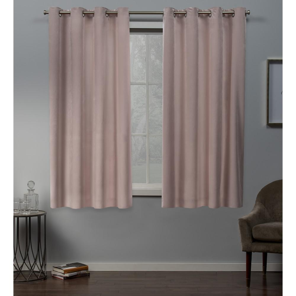 Exclusive Home Curtains Velvet Heavyweight Grommet Top Curtain Panel Pair In Blush 54