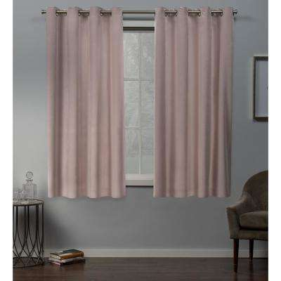 Velvet 54 in. W x 63 in. L Velvet Grommet Top Curtain Panel in Blush (2 Panels)