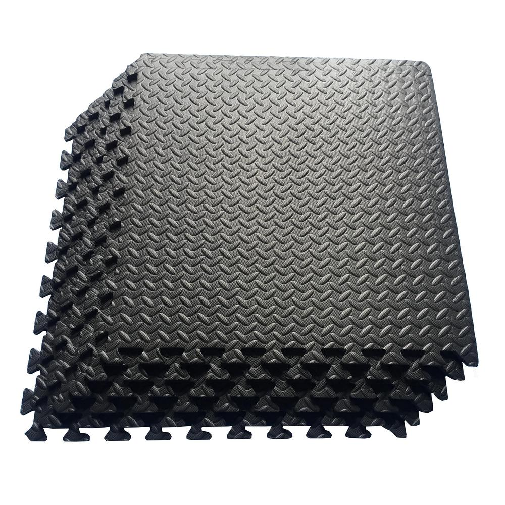 Multi-Purpose Black 24 in. x 24 in. EVA Foam Interlocking Anti-Fatigue