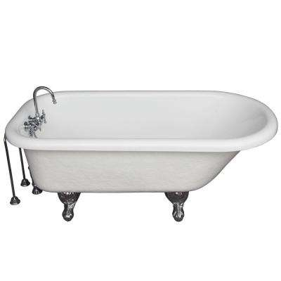 5.6 ft. Acrylic Ball and Claw Feet Roll Top Tub in White with Polished Chrome Accessories