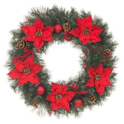 unlit artificial christmas mixed pine wreath with red poinsettias and pinecones - Artificial Christmas Wreaths Decorated
