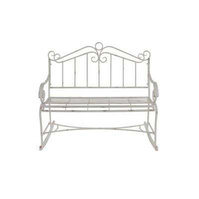 White Scroll-Designed Garden Bench