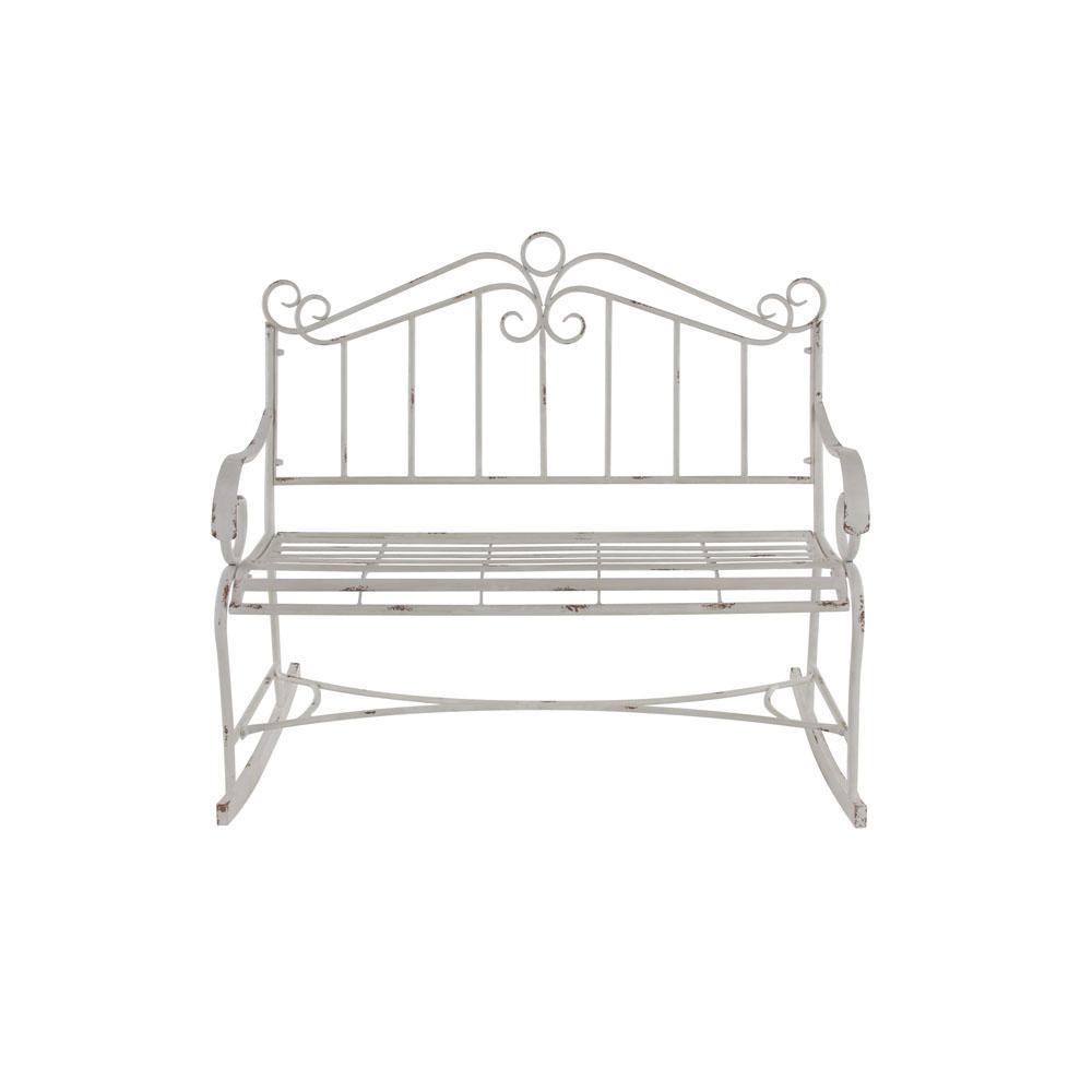 Admirable Litton Lane White Scroll Designed Garden Bench 45870 The Inzonedesignstudio Interior Chair Design Inzonedesignstudiocom
