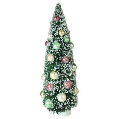 15 in. Frosted Green Sisal Pine Artificial Christmas Table Top Tree