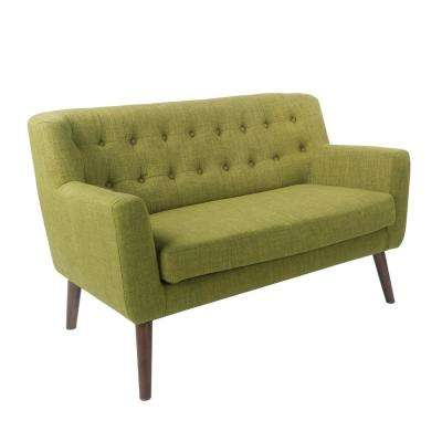 Mill Lane Loveseat in Green Fabric with Coffee Legs