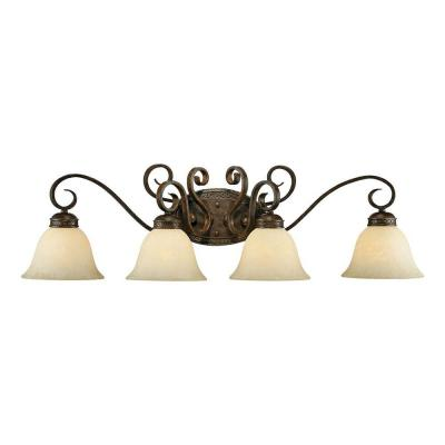 4-Light Bronze/Gold Vanity Light with Turinian Scavo Glass