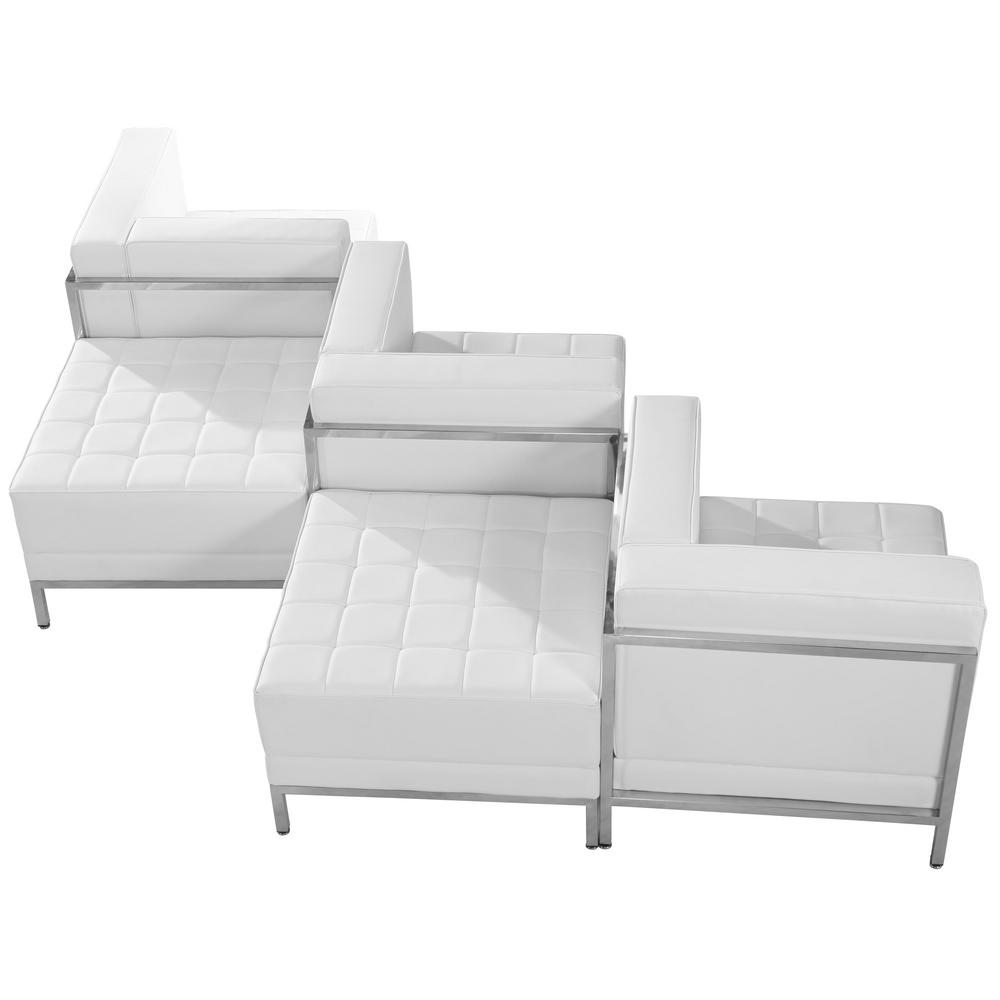 Flash Furniture Hercules Imagination Series White Leather 5 Piece Chair U0026 Ottoman  Set