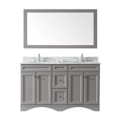 Talisa 60 in. W x 22 in. D Vanity in Gray with Marble Vanity Top in White with Round White Basin and Mirror