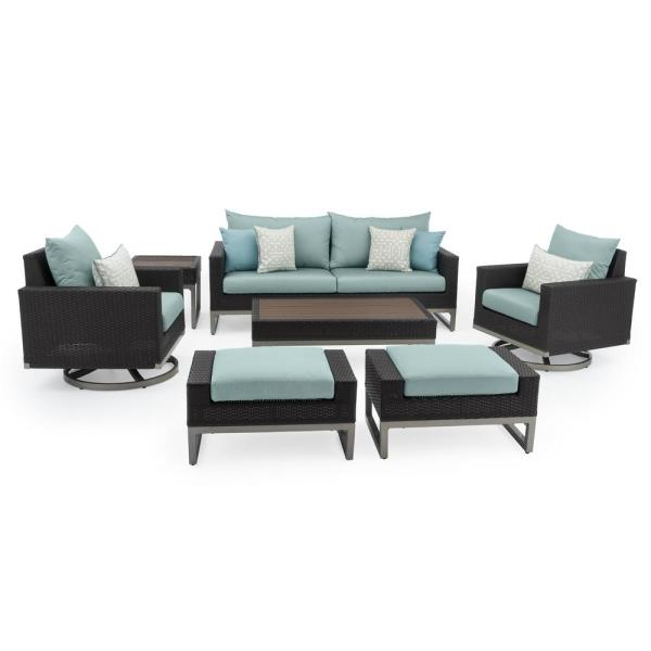 Milo Espresso 7-Piece Wicker Motion Patio Deep Seating Conversation Set with Sunbrella Spa Blue Cushions