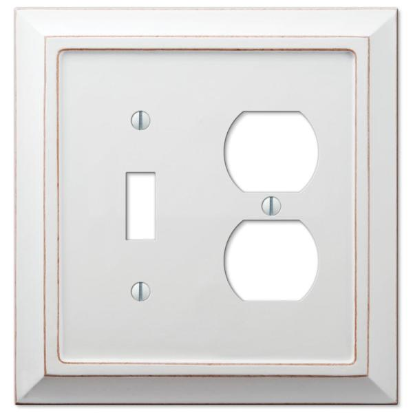Savannah 2 Gang 1-Toggle and 1-Duplex Wood Wall Plate - White