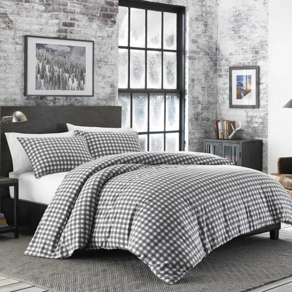 Gray Plaid Cotton Blend King Comforter