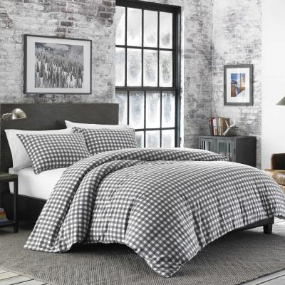 Preston 3-Piece Grey Full/Queen Duvet Cover Set
