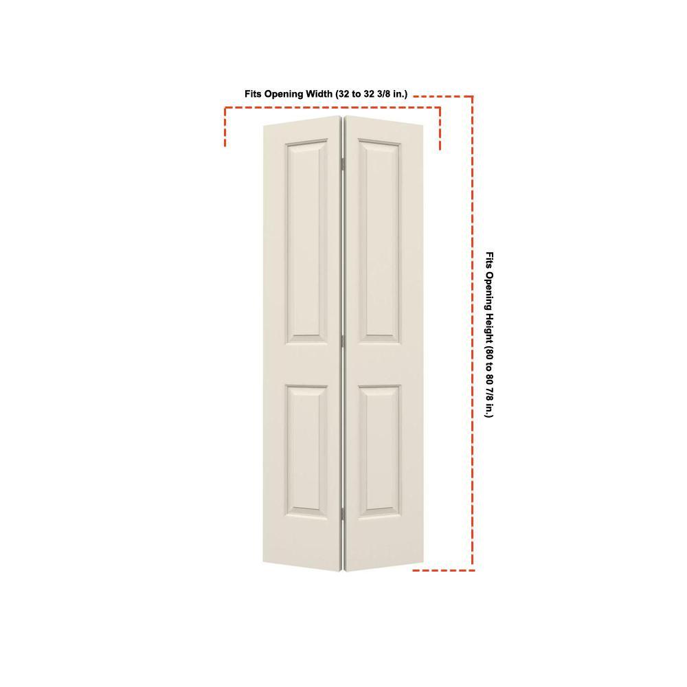 32 in. x 80 in. Cambridge Primed Smooth Molded Composite MDF Closet Bi-Fold Door