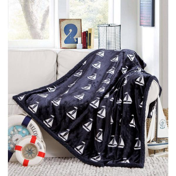 Coleman Sherpa Throw Blanket 87 in. W x 79 in. L in Navy