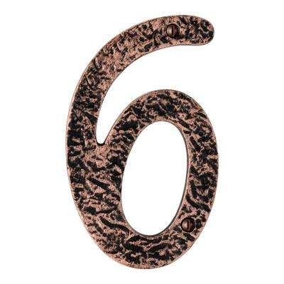 Hammered 6 in. Antique Copper House Number 6