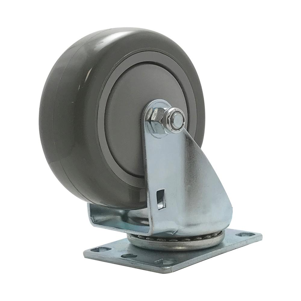 SNAP-LOC 4 in. Polyurethane Swivel Plate Caster with 375 lbs. Load Rating