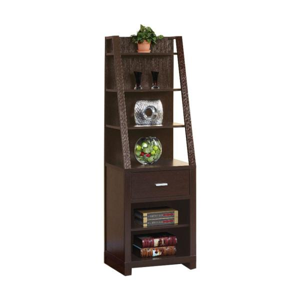 Contemporary Style Dark Brown Media Tower with 6 Shelves