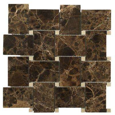 Orchard Dark Emperador Crema Marfil 11 in. x 11 in. x 10 mm Marble Mosaic Tile