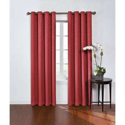 Blackout Round and Round Wine Polyester Grommet Blackout Curtain - 52 in. W x 84 in. L