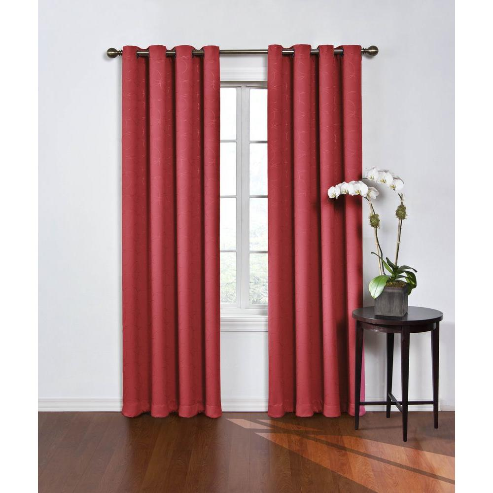 Eclipse Blackout Round And Wine Polyester Grommet Curtain