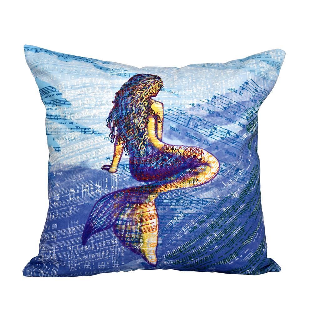 16 in x 16 in blue mermaid geometric print pillow