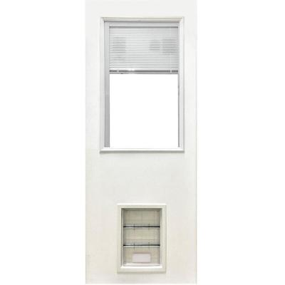 31-3/4 in. x 79 in. Clear Half Lite Mini-Blind White Primed Fiberglass Front Door Slab with Extra Large Pet Door