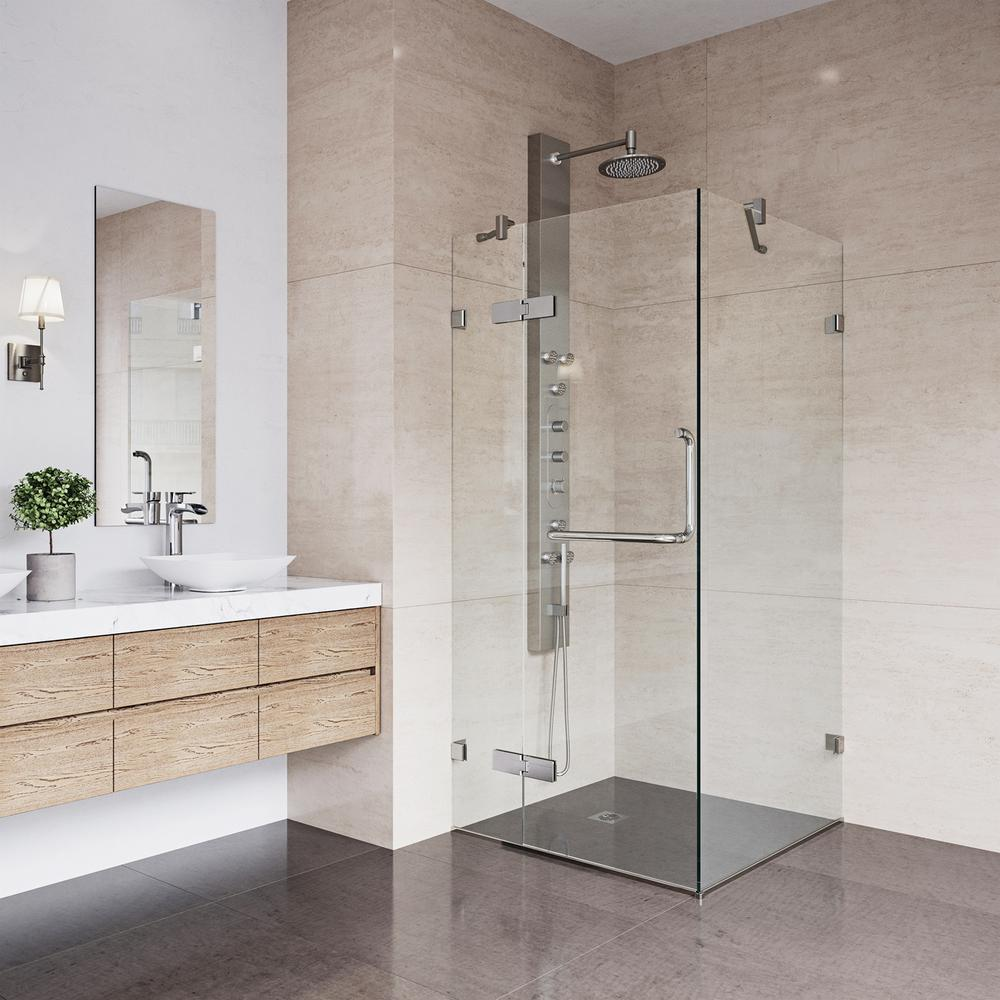 VIGO Monteray 30.25 in. x 73.375 in. Frameless Corner Hinged Shower ...