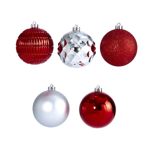 Nearly Natural Holiday 3 In Red Shatterproof Christmas Tree Ornament Box Set With Re Useable Box 40 Count D1000 Rd The Home Depot