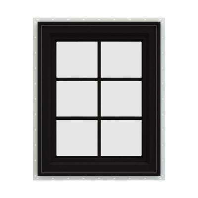 24 in. x 30 in. V-4500 Series Black FiniShield Vinyl Right-Handed Casement Window with Colonial Grids/Grilles