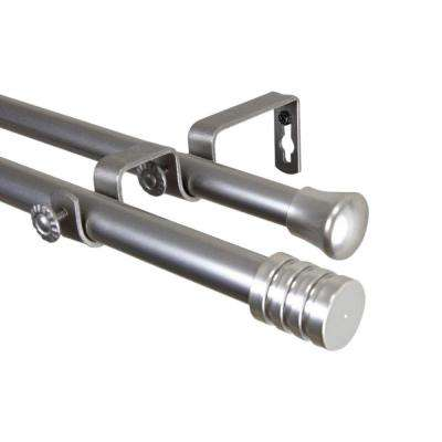 120 in. - 170 in. Satin Nickel Telescoping Double Curtain Rod Kit with Lee Finial