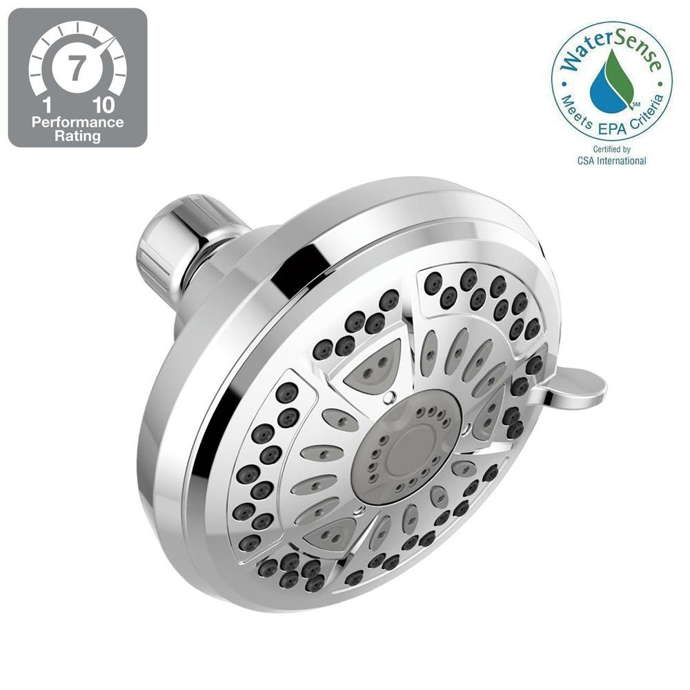 Delta 6-Spray 4 38 in  Fixed Shower Head in Chrome