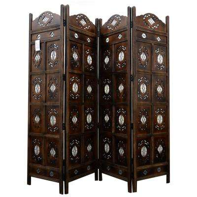 Kashmiri Wood Room Divider 4-Panel Carved Screen