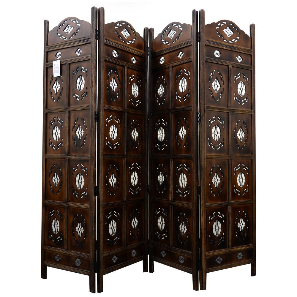 The Urban Port Kashmiri Wood Room Divider 4 Panel Carved Screen Nau